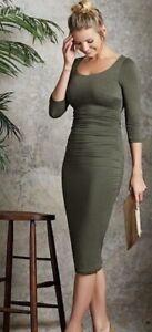 Bravissimo / Pepperberry 3/4 Slv Jersey Ruched Sides Dress Semi Fit Length Calf