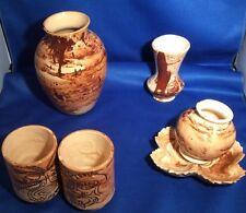 VTG Art Pottery Swirl 5 pcSet - LINDA'S ALASKA CERAMICS - MADE W/ SITKA CLAY USA