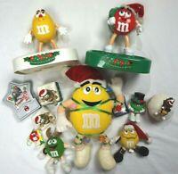 M&M Candy CHRISTMAS LOT Dispensers Figures Ornaments Plush some Vintage