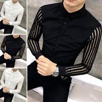 Men's Long Sleeve Sheer Mesh T Shirt Top Party Clubwear Collar Shirt Blouse Tops