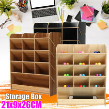 Desk Pen Pencil Wooden Box Desktop Storage Rack Holder Shelf Office Organizer