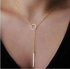 1 Vergoldet Boho Damen Vintage Halskette Metall Ring Anhänger 64.5cm