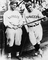 New York Yankees BABE RUTH & LOU GEHRIG Glossy 8x10 Photo Baseball Poster