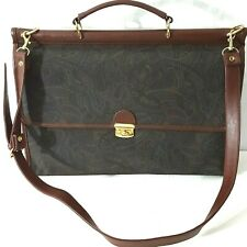 CASUAL CORNER Paisley Vinyl Briefcase Crossbody Burgundy Faux Leather Trim Women