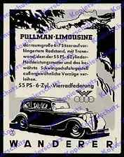 or. Reklame Auto Wanderer W250 Pullman-Limousine Auto-Union Design Chemnitz 1937