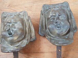 2 Antique French Ormolu Gilt Bronze Cherub Putti Face Head Froncois Linke Style