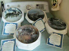 """4-Wolf Encounters Masters collection series 8"""" plates Bradford Exchange w/ Coa"""