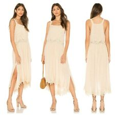 FREE  PEOPLE  BOHO *IN YOUR ARMS* COTTON  APPLIQUE  MIDI  DRESS  Sz L  NWT $ 168