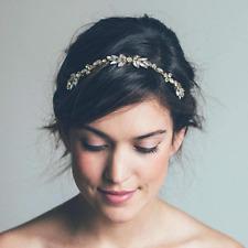 Wedding Bridal Hair Accessories Crystal Gold Comb Head Piece Clip Pin Bride
