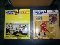 STARTING LINEUP MARTIN BRODEUR AND PAUL COFFEY FIGURES WITH CARDS LOT OF 2 NEW