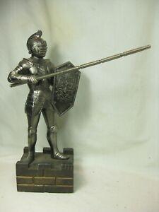 vintage knight statue medieval armor detailed shield lance metal wood Japan