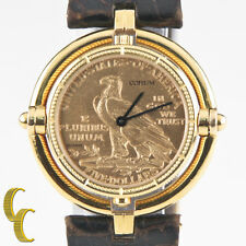 Corum 18k Yellow Gold Half Eagle Quartz Coin Watch w/ Rotating Bezel