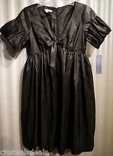 NWT London Times Womans SIZE 4 Mini Black Bubble Sleeve Pockets Satin Dress  $88
