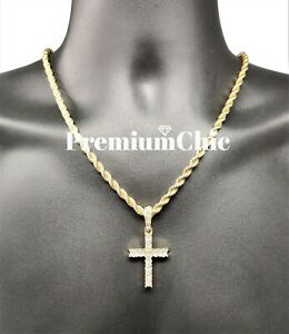 Iced Cross Pendant with 5MM Rope Chain Necklace Mens Hip Hop Gold Plated Jewelry