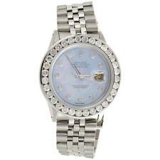 Mens 16014 Rolex DateJust 36mm Channel Set Diamond Watch Blue MOP Dial 5.75 CT.