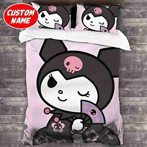 Adorable Dark Kuromi Custom Name Bedding Set