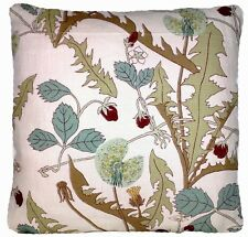 """Botanical Cushion Cover Linen Fabric Printed Beige Green Vintage Square 16"""""""