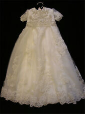 2018 Baby Christening Gowns Baptism Outfits Dresses Crystal Newborn/0-3M  Ivory