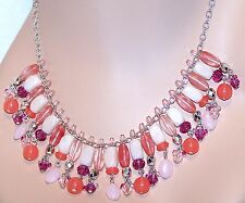 NEW $44 Tag CHAPS by Ralph Lauren Semi Precious Peach Pink Necklace Earrings Set