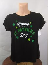 WoundUp Woman's HAPPY ST.PATRICK'S DAY BLACK SHORT SLEEVE T-SHIRT NWT     (HD25)