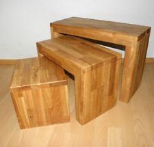 3er Set Hocker Eiche Beistelltisch Sitzbank Dreisatztisch Tisch-Set Holzbank