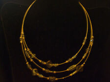 Ladies Gold Tone Triple Strand Beaded Choker Necklace