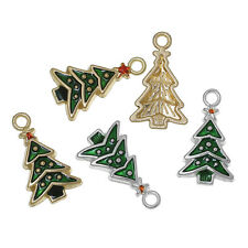 10 MIXED GREEN GOLD SILVER ENAMEL CHRISTMAS TREE CHARM~23mm~Wine Glass Charm(X88
