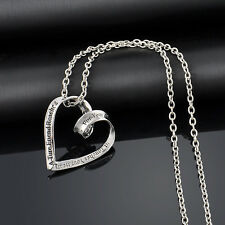 Vintage Silver Tone Love Heart Pendant Necklace Valentine's Gift Hot