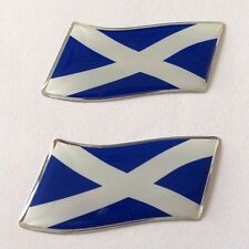 2 x 45mm WAVING SCOTLAND FLAG Sticker/Decal - WITH A HIGH GLOSS DOMED GEL FINISH