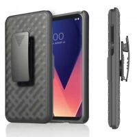 For LG G7 ThinQ - ARMOR SHELL CASE COMBO BELT CLIP HOLSTER COVER with KICK-STAND