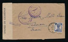 INDIA WW2 to TEHERAN + RUSSIAN CENSOR + NBI PERFIN + EMBOSSED FLAP ENVELOPE