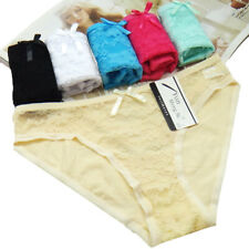 3 Pack Woman Ladies Sexy LACE FRONT Knickers Briefs Panties Pants Underwear