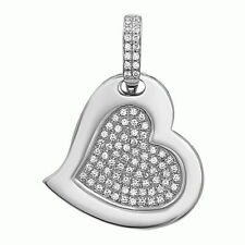 Love Heart Pendant with AAA quality CZ in Micro Pave Set, .925 Sterling Silver