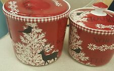 222 FIFTH NORTHWOOD COTTAGE SET OF 2 CANISTERS RED WINTER TREE DEER CABIN NEW