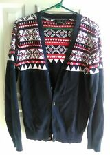 Forever 21 Mens Size Small Cardigan Sweater Button Up Navy/Red/White