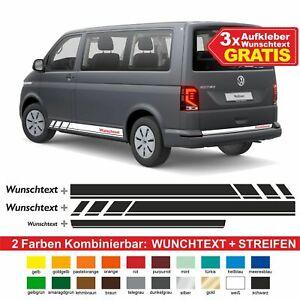 Seitenstreifen VW T6.1, T6, T5, Multivan, Bulli + 3x Aufkleber Wunschtext Seiten