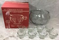 Indiana Glass 18pc Celebration Punch Set Crystal Bowl Cups Hooks Ladle Vintage