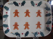 "Gingerbread Man Platter Chop Plate 12 1/2"" Hartstone White Green Brown Red !"
