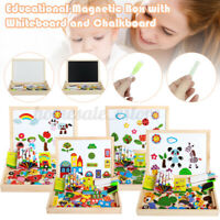 Educational Wooden Magnetic Puzzle Toys Drawing Boards Box Learning Activity U