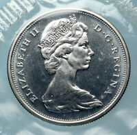 1966 CANADA UK Queen ELIZABETH II Unicorn Antique Silver 50 Cents Coin i83875