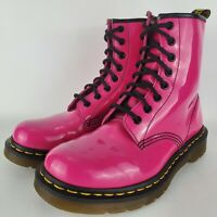 Doc Martens Hot Pink Air Wair Soles 1460 W Patent Leather Boots UK 5 Wmn Size 7