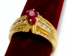 .06 Ctw Diamonds, 14K Gold, Size 7.25 Ruby Diamond Engagement Ring | 1 Ctw Ruby,