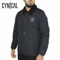 Mens Cynical Padded Borg Sherpa Lined Varsity Sports Coach Jacket Winter Coat