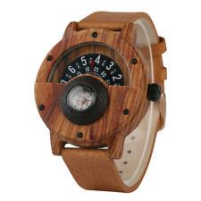 Stylish Quartz Wooden Watch Compass Leather Band Handmade Natural Wristwatch