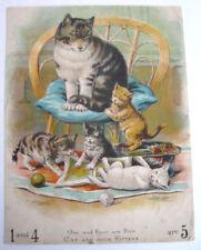 More details for c.1900 rare colour cat kittens educational print canvas maths louis wain-style