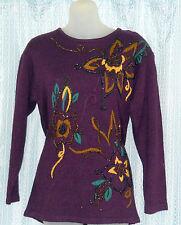 Gorgeous Silk Sweater - Metallic Beading & Embroidery -  IB Diffusion  XS Petite