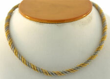 PURE SOPHISTICATION C.1960 MULTI TONE 18 YELLOW & 14K WHITE GOLD NECKLACE CHAIN