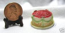 Miniature Dollhouse Round Cake / Red Top Tiny Flowers