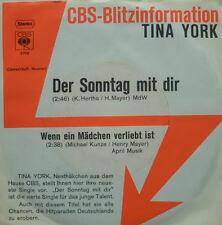 """7"""" 1971 RARE IN MINT- ! TINA YORK : Der Sonntag mit Dir"""