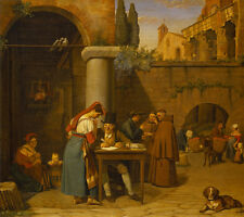 """perfect 30x30 oil painting """"a roman man writes a letter to a young girl   """"@9561"""